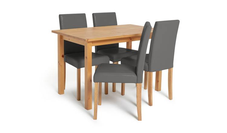 Argos Home Ashdon Solid Wood Dining Table & 4 Grey Chairs