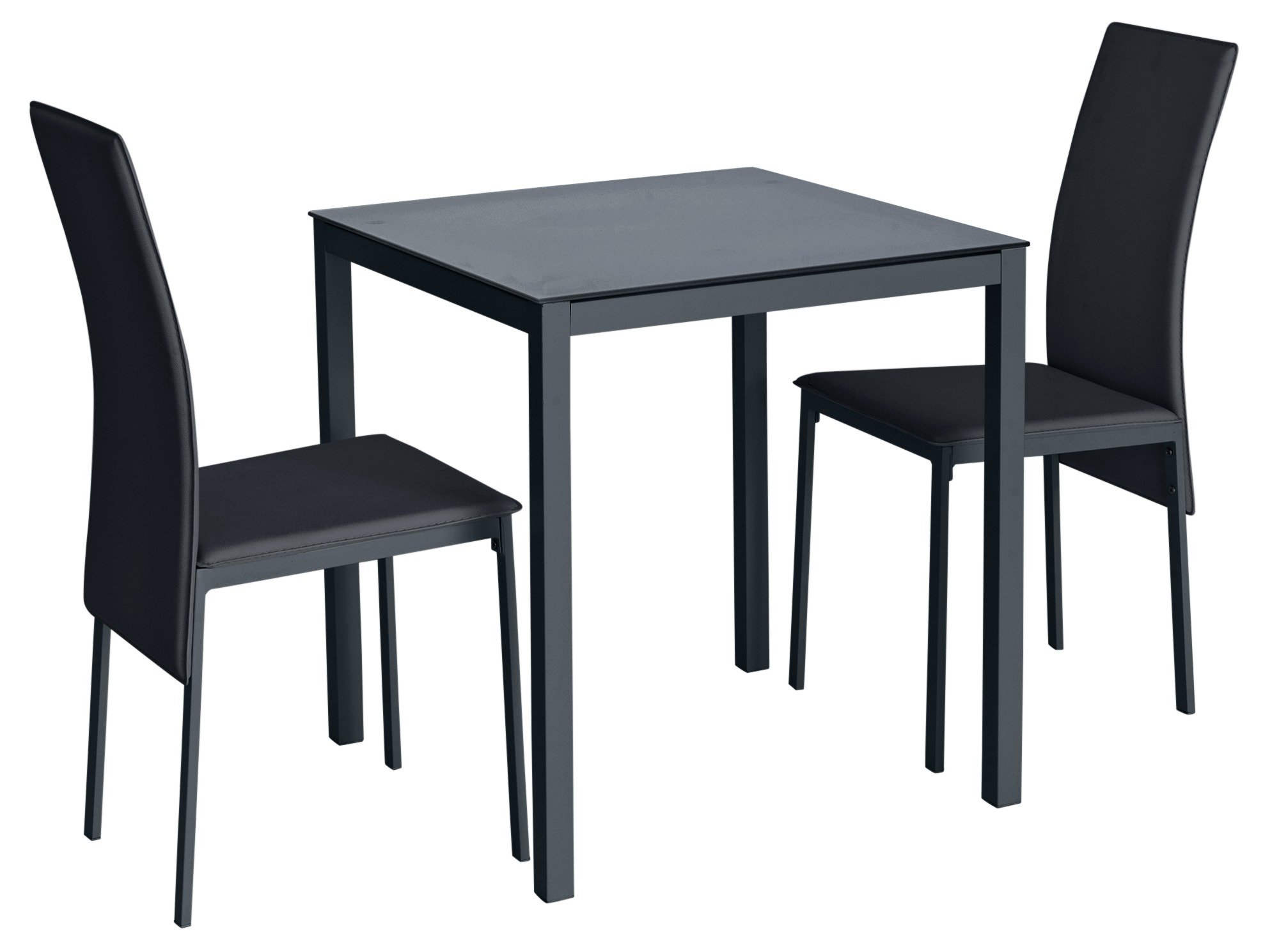 Argos Home Lido Glass Dining Table & 2 Black Chairs
