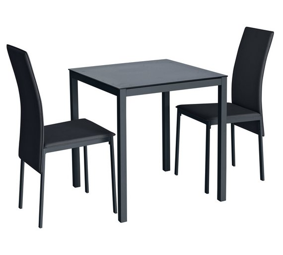 Buy Hygena Lido Glass Dining Table & 2 Chairs - Black | Space saving ...
