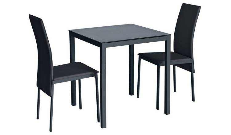 Buy Argos Home Lido Glass Dining Table 2 Chairs Black Space