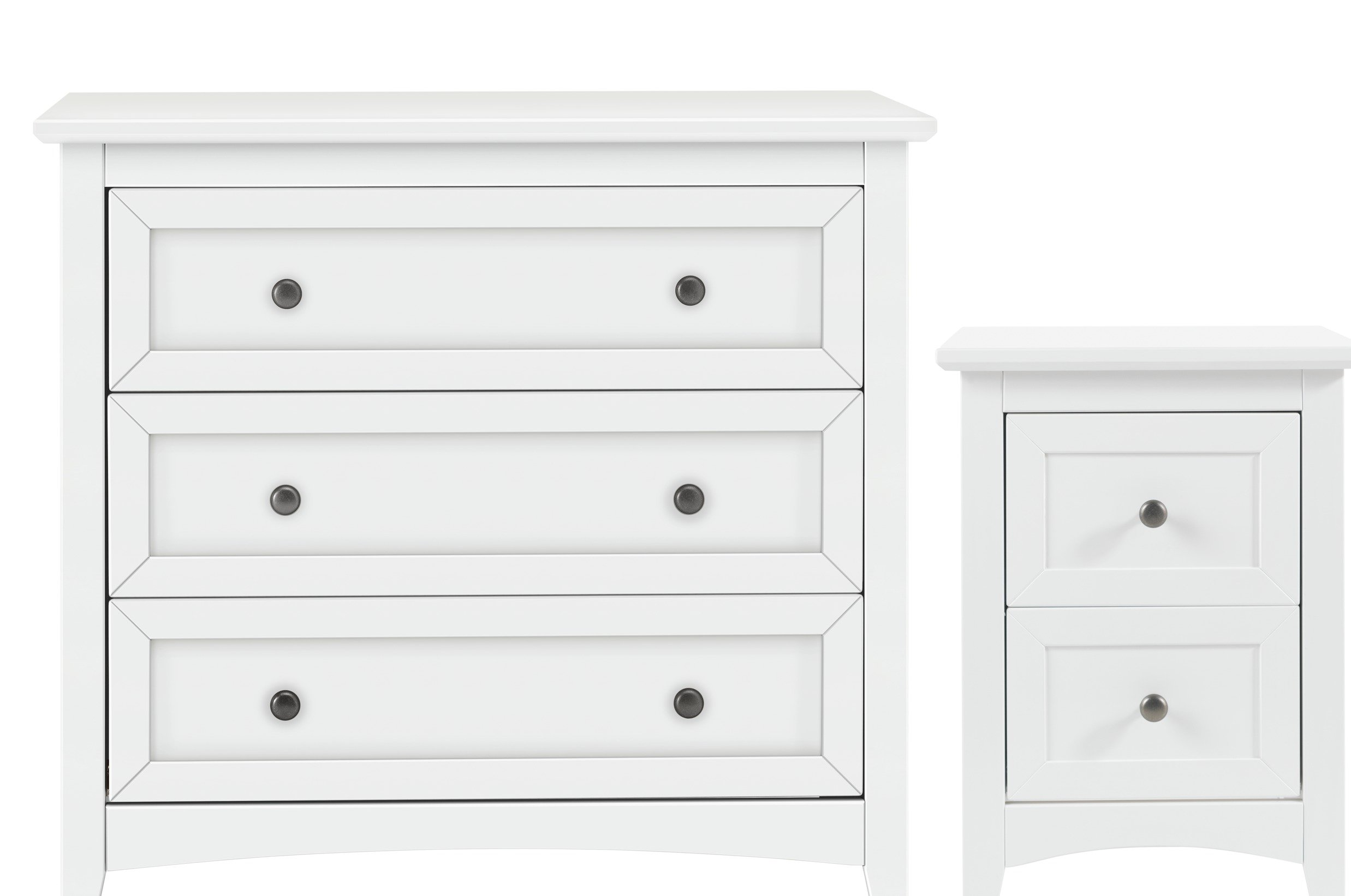 Image of Collection Camborne Bedside & 3 Drawer Package - White