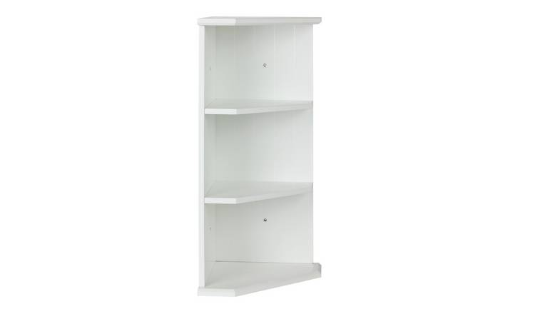 Buy argos home tongue and groove bathroom corner shelf - White bathroom corner shelf unit ...