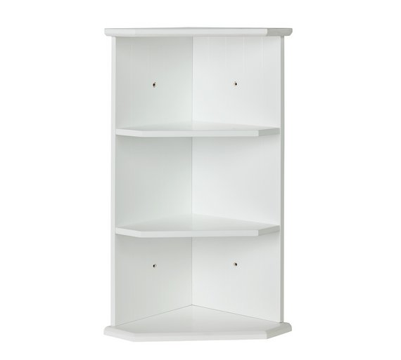 Buy Collection Tongue and Groove Bathroom Corner Shelf - White at ...