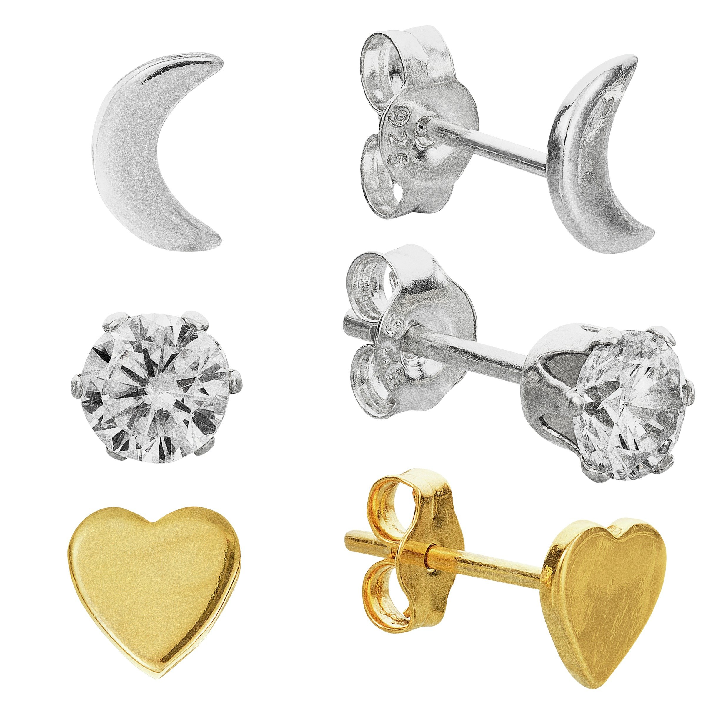 Revere Silver and 9ct Gold Plated Silver Studs - Set of 3