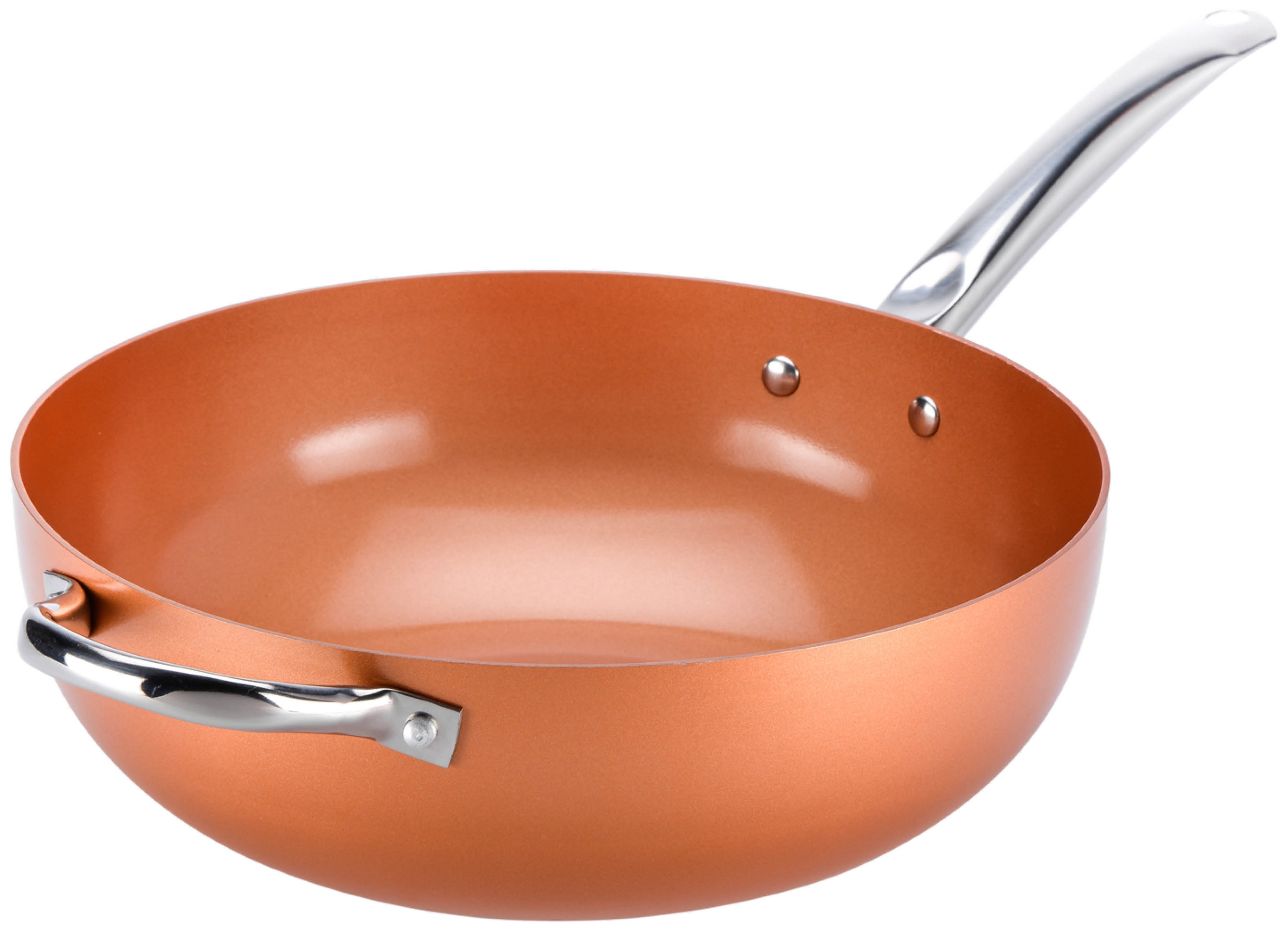 Copper Chef Wok with Tempered Glass Lid - 30cm
