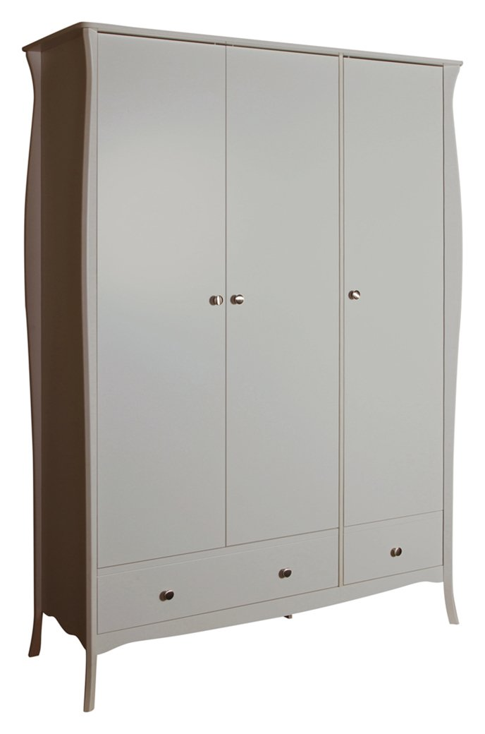 Image of Baroque 3 Door 2 Drawer Wardrobe - Grey