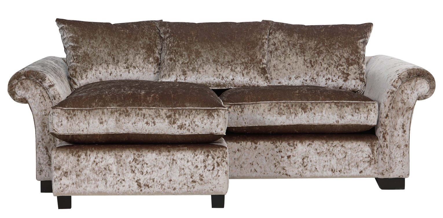 HOME Glitz Fabric Reversible Corner Chaise Sofa - Mink