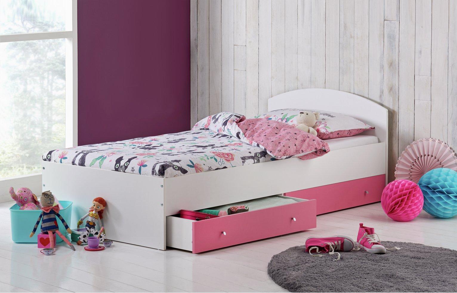 HOME Malibu Single Bed with Elliott Mattress - Pink & White.