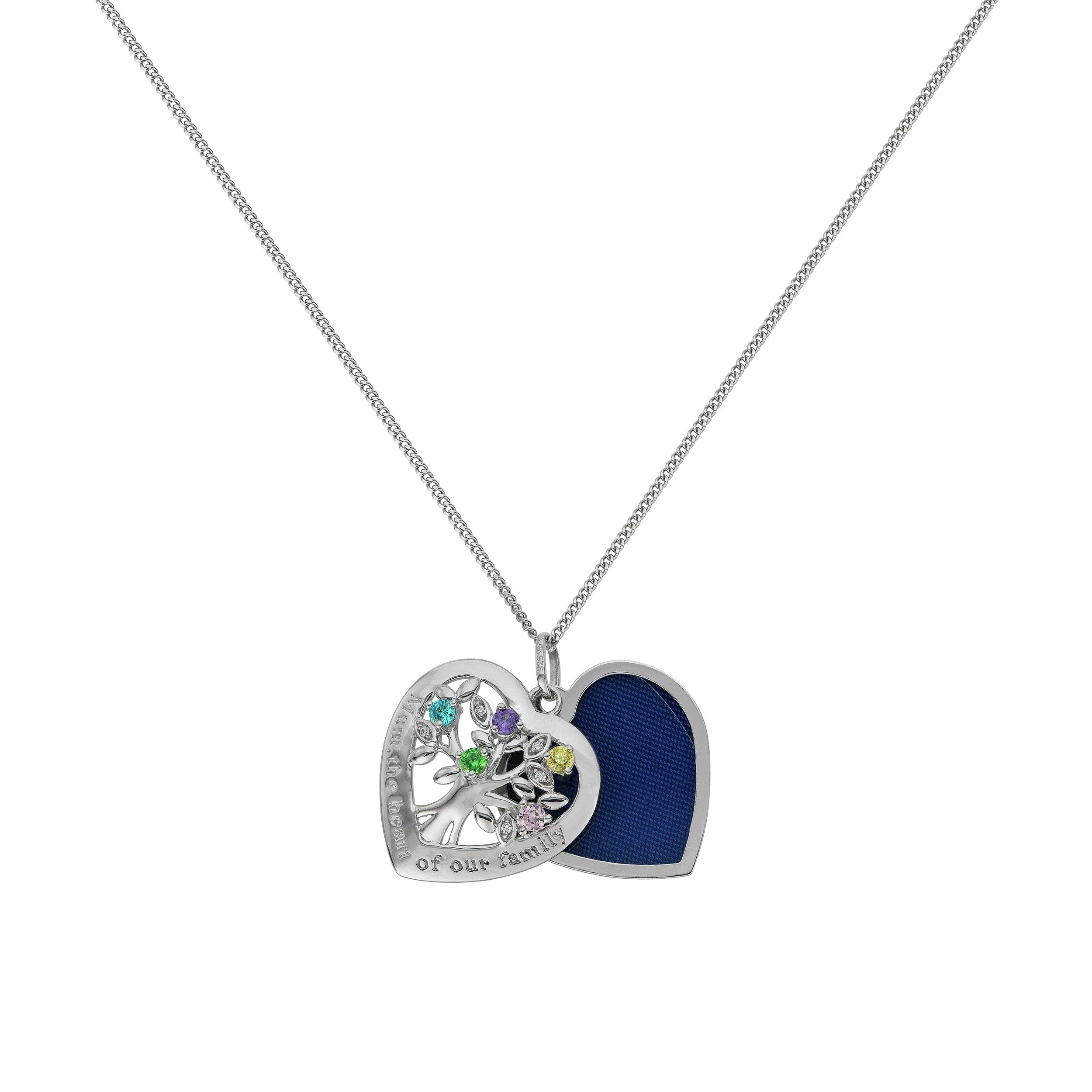 Image of Moon & Back Silver Family Tree CZ Sliding 1 Photo Locket