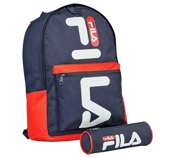FILA Backpack and Pencil Case Spacious Main Compartment With Branded Double  Blue e3dd1efa2d