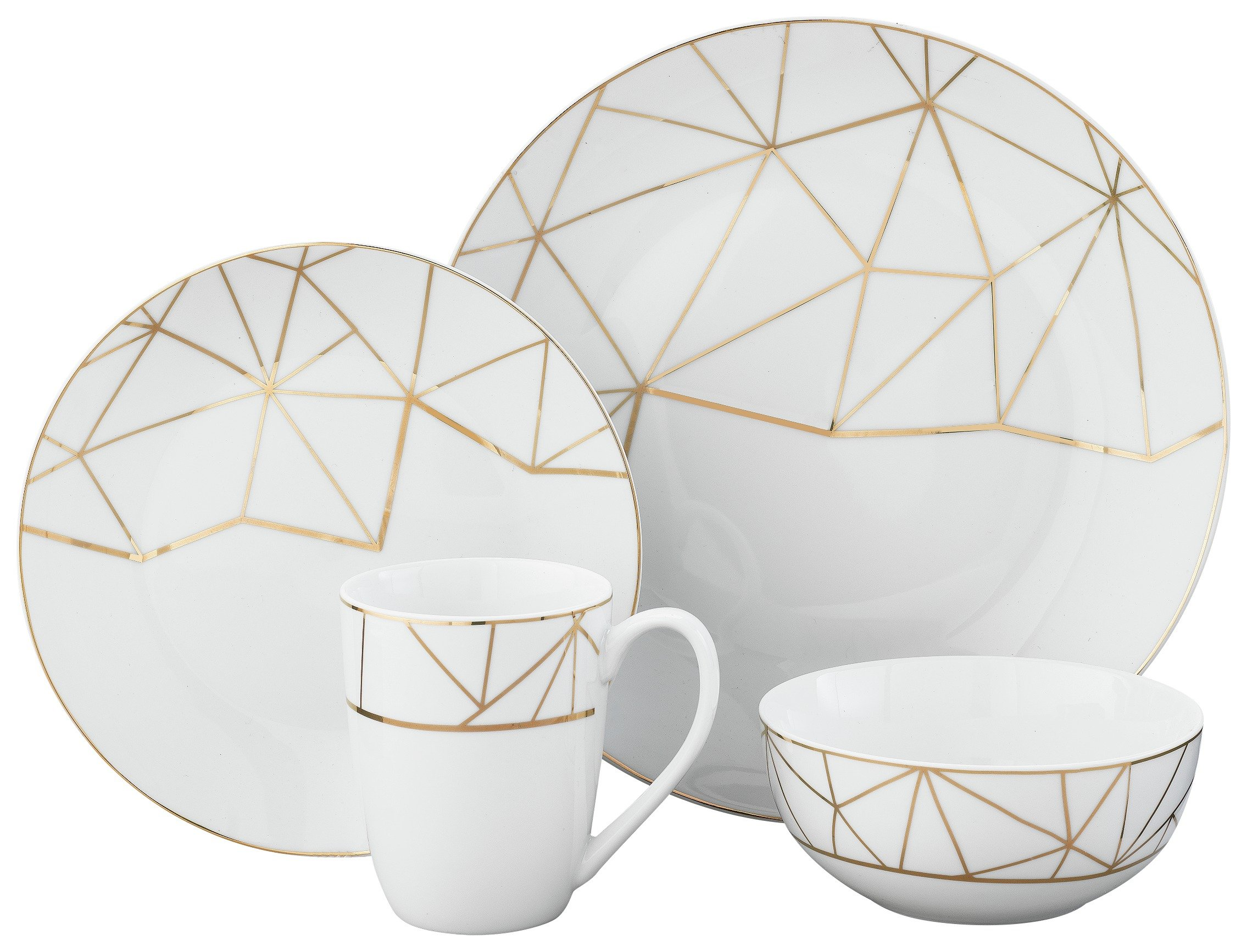 Heart of House 8 Piece Geo Metallic Porcelain Dinner Set.