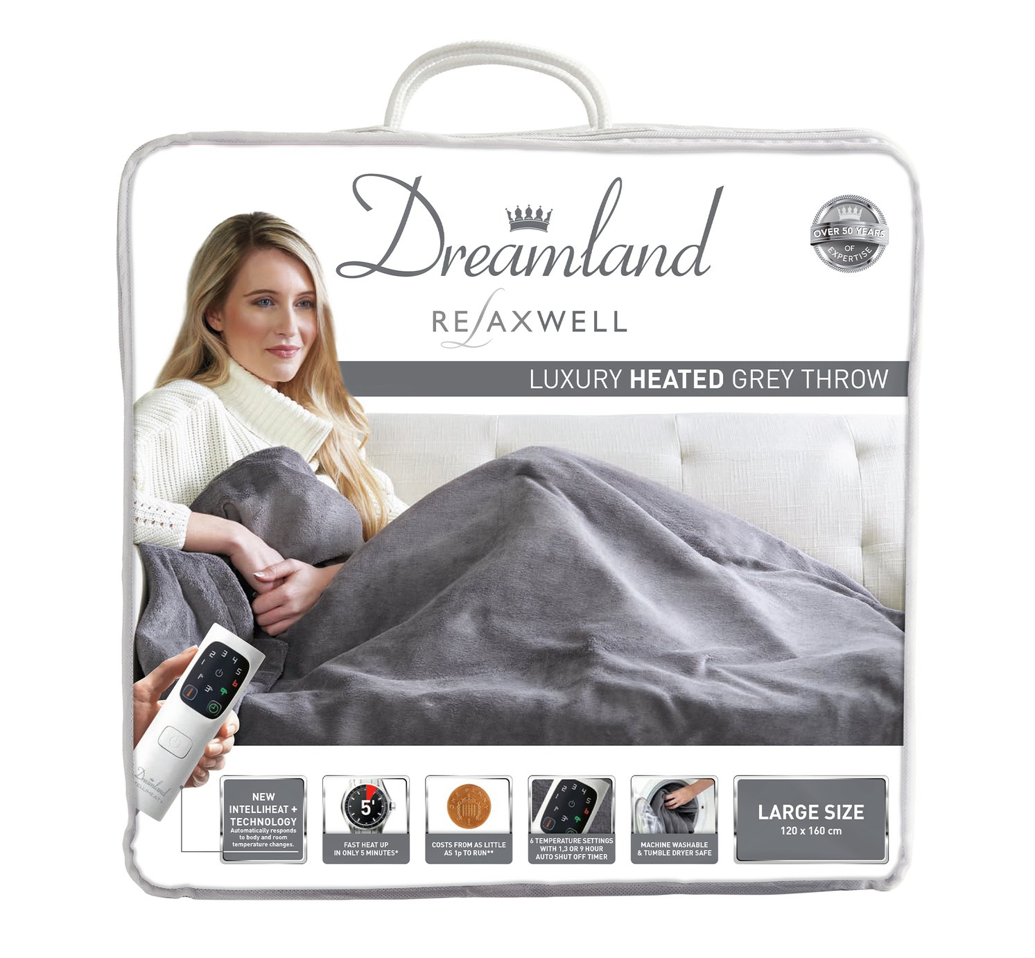 relaxwell by dreamland luxury velvety heated throw  grey