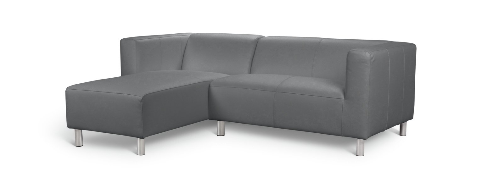 Argos Home Moda Left Corner Faux Leather Sofa - Grey