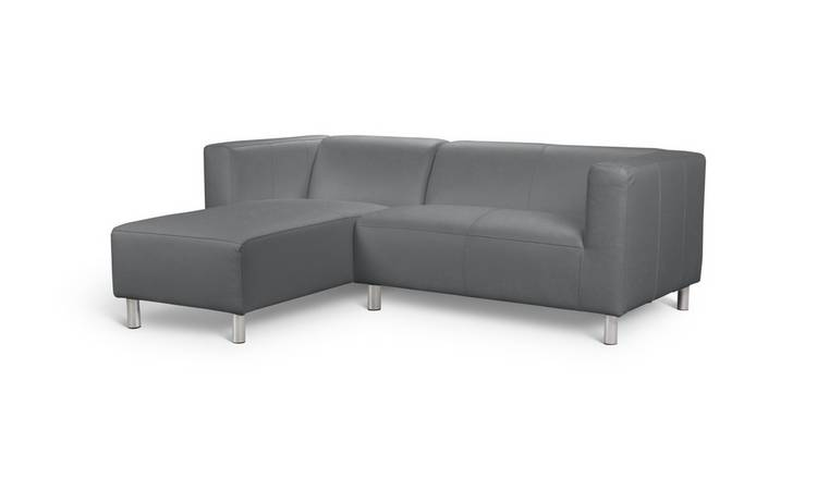 Buy Argos Home Moda Left Corner Faux Leather Sofa - Grey | Sofas | Argos