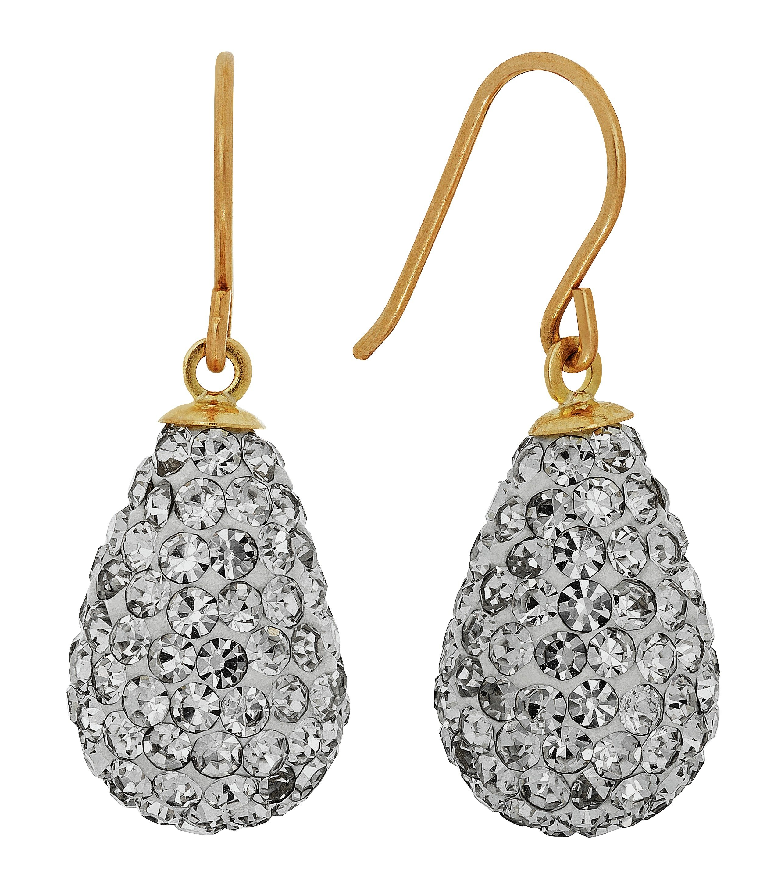 Revere 9ct Yellow Gold Crystal Drop Earrings