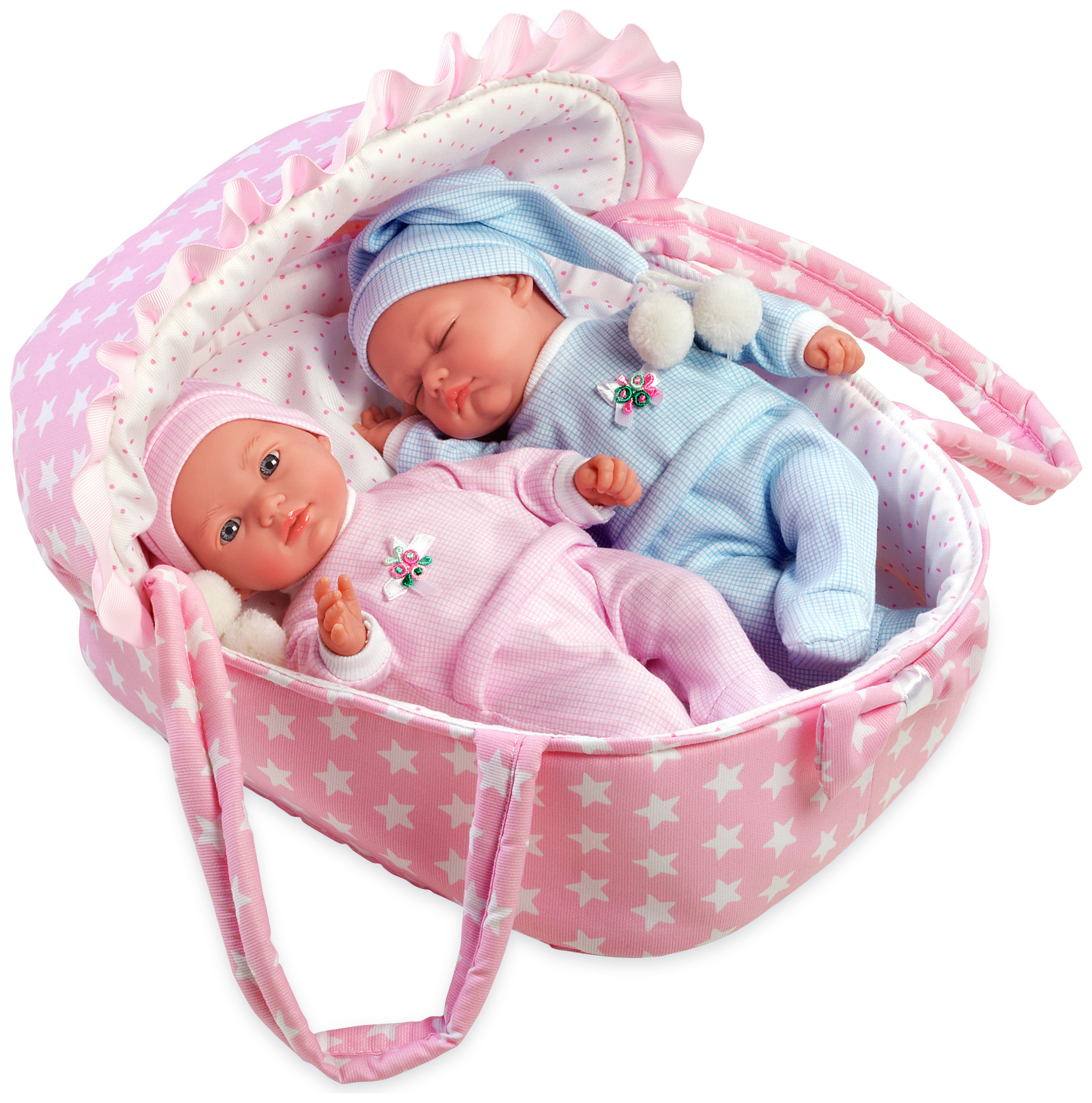 Image of Arias Elegance Baby Twin Dolls with Baby Carrier.