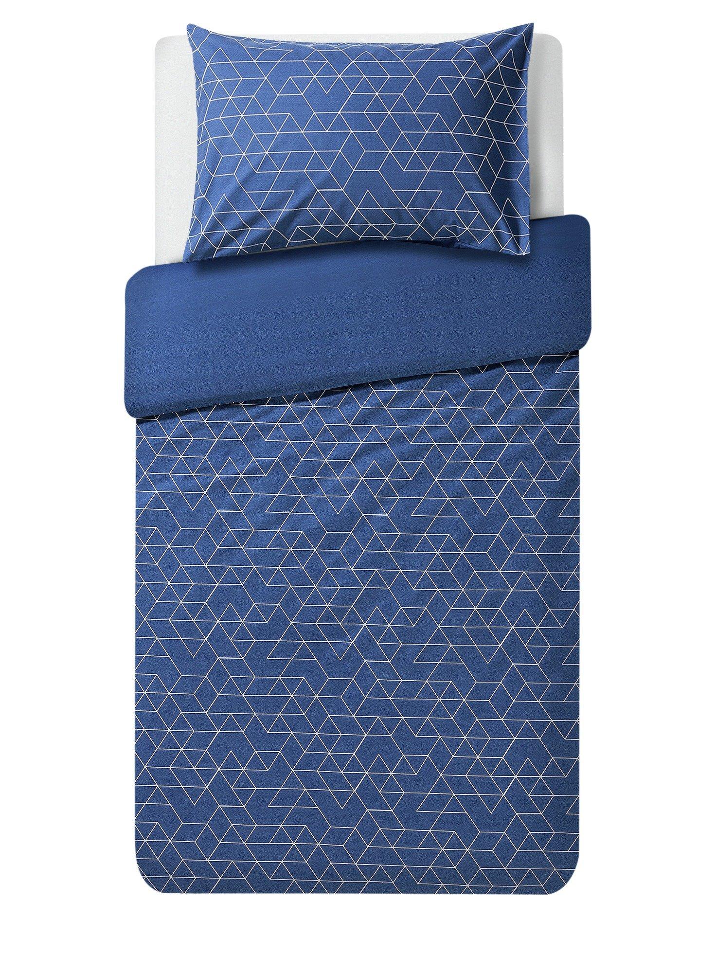 home navy geometric bedding set  single