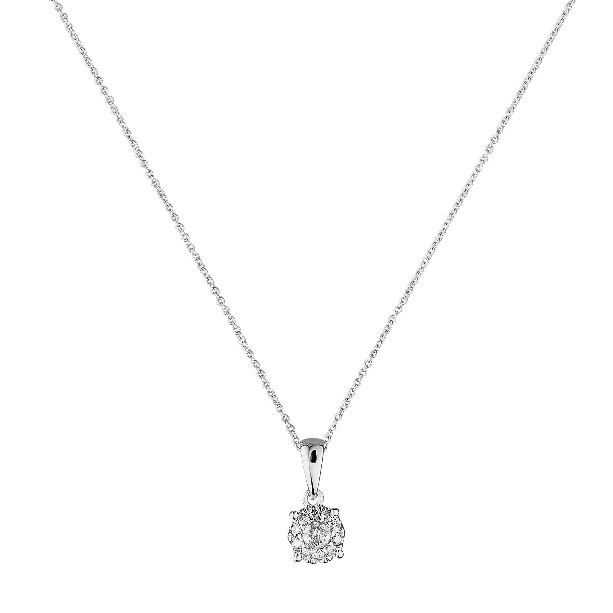 Revere 9ct White Gold 0.25ct tw Diamond Pendant Necklace