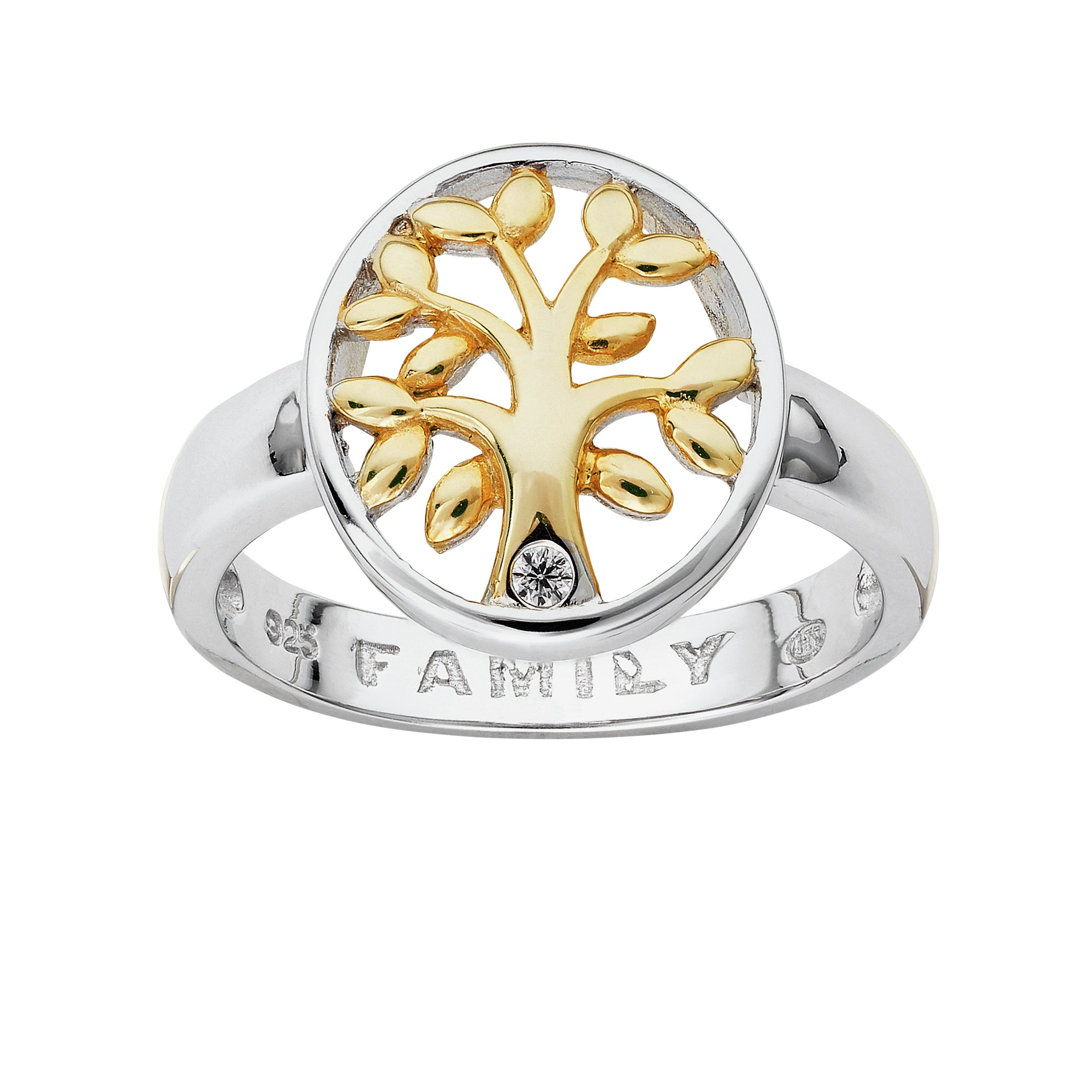 Image of Moon & Back Silver and Gold Plated Silver Tree CZ Ring