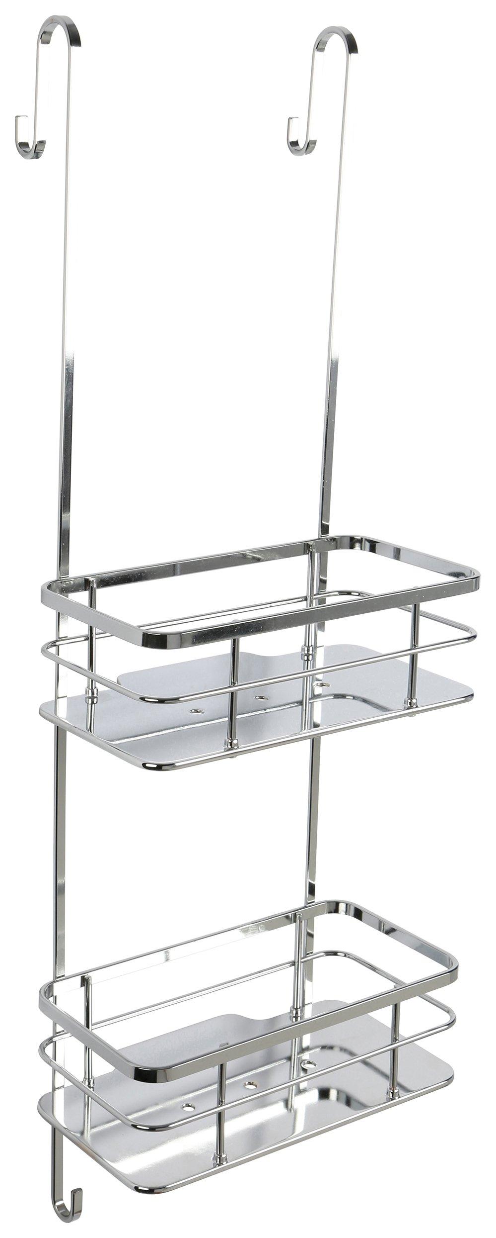 Image of Croydex Charlwood 2 Tier Chrome Flexi Fit Hook Over Basket