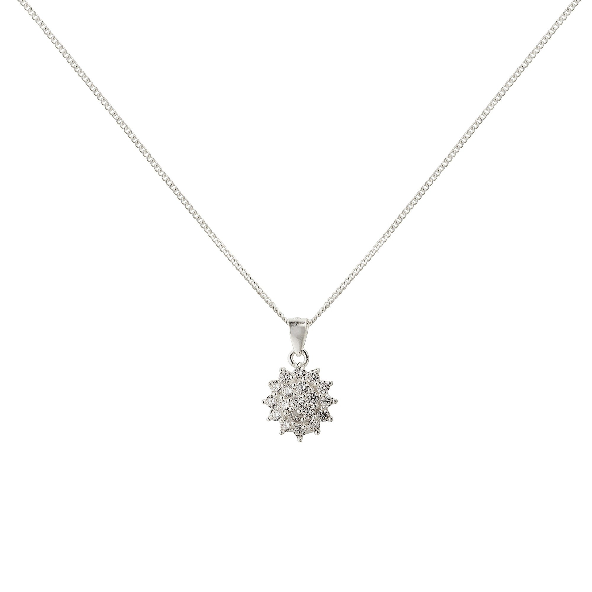 Revere Silver Look Cluster Pendant 18 Inch Necklace