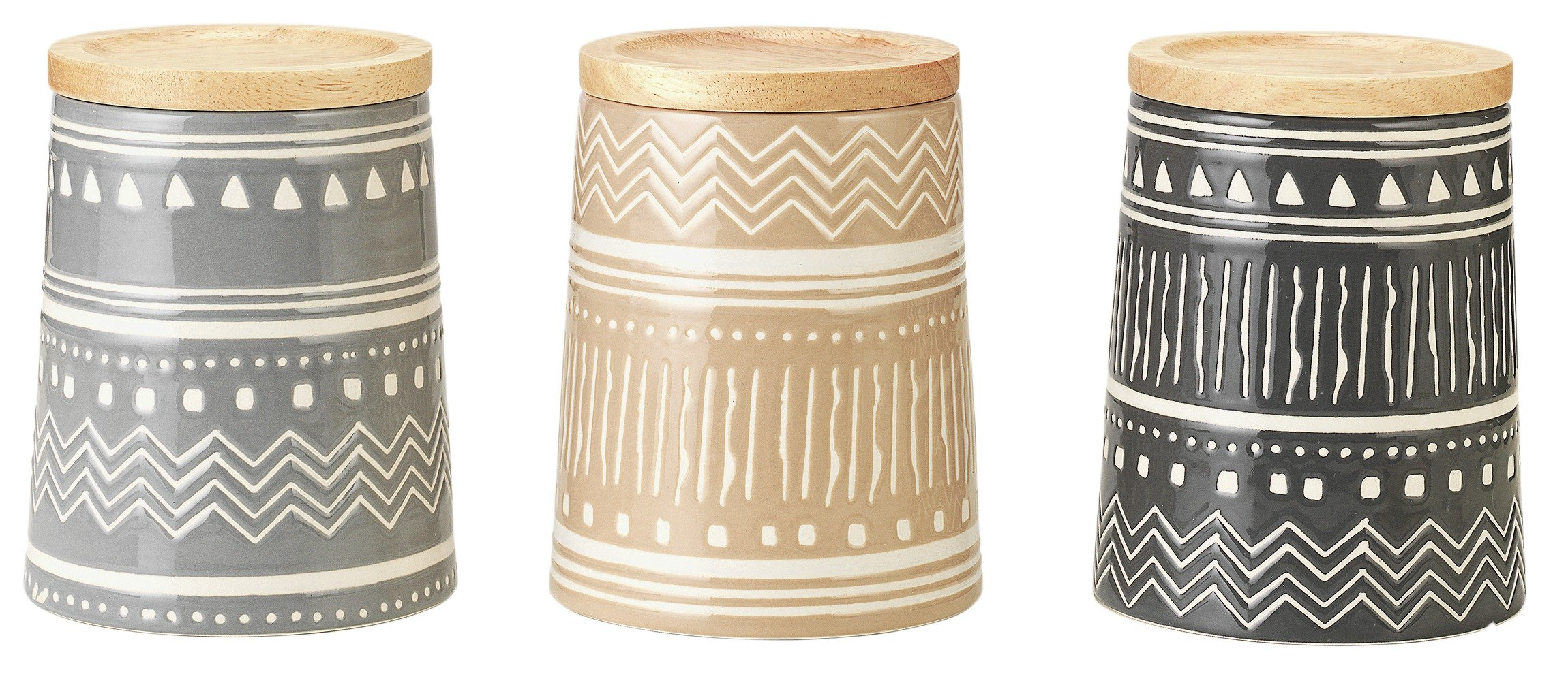 Heart of House Navajo Set of 3 Stoneware Storage Jars