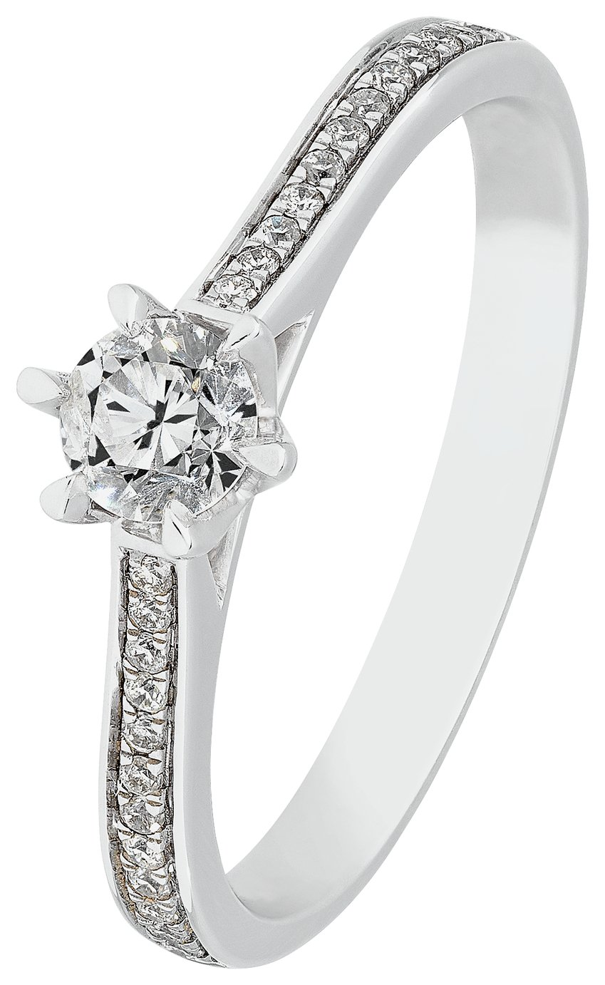 Revere 9ct White Gold 0.40ct tw Diamond Shoulder Detail Ring