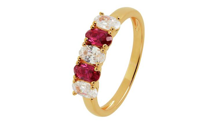 Revere 9ct Gold Plated White Cubic Zirconia Ring - M