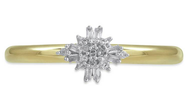 Revere 9ct Gold 0.05ct Diamond Baroque Cluster Ring - S