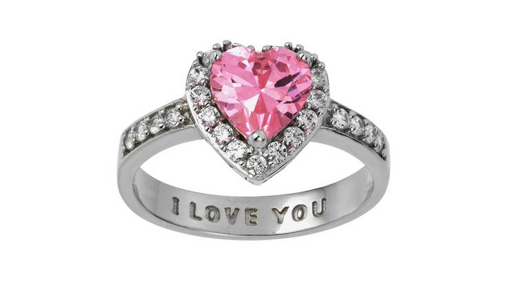 Moon & Back Sterling Silver Pink 'I Love You' Ring - N