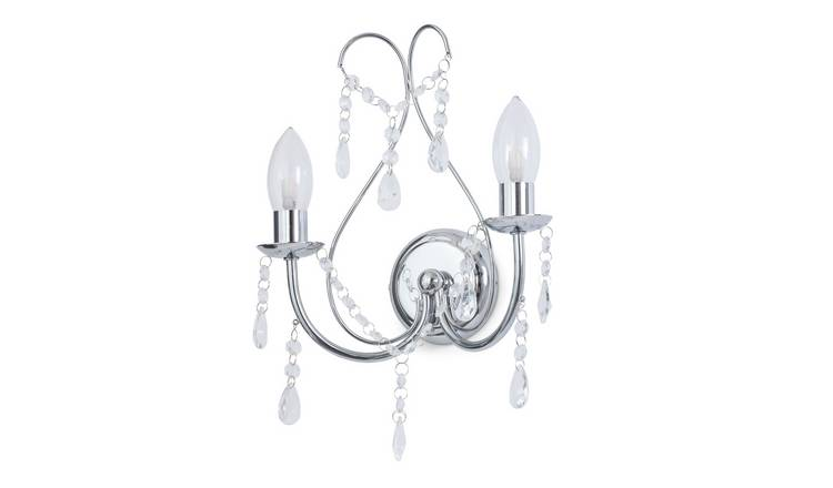 SPA 2 Light Bathroom Chandelier Wall Light -Glass and Chrome