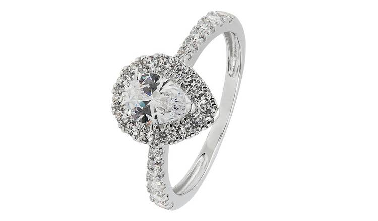 Revere 9ct White Gold Pear Cut Cubic Zirconia Halo Ring - L