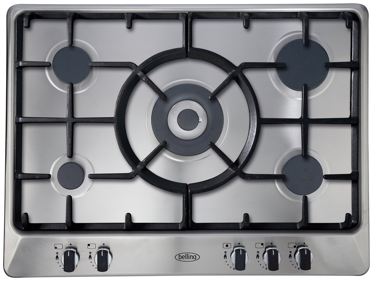 Belling GHU70GC Cast Iron Support Gas Hob - Stainless Steel