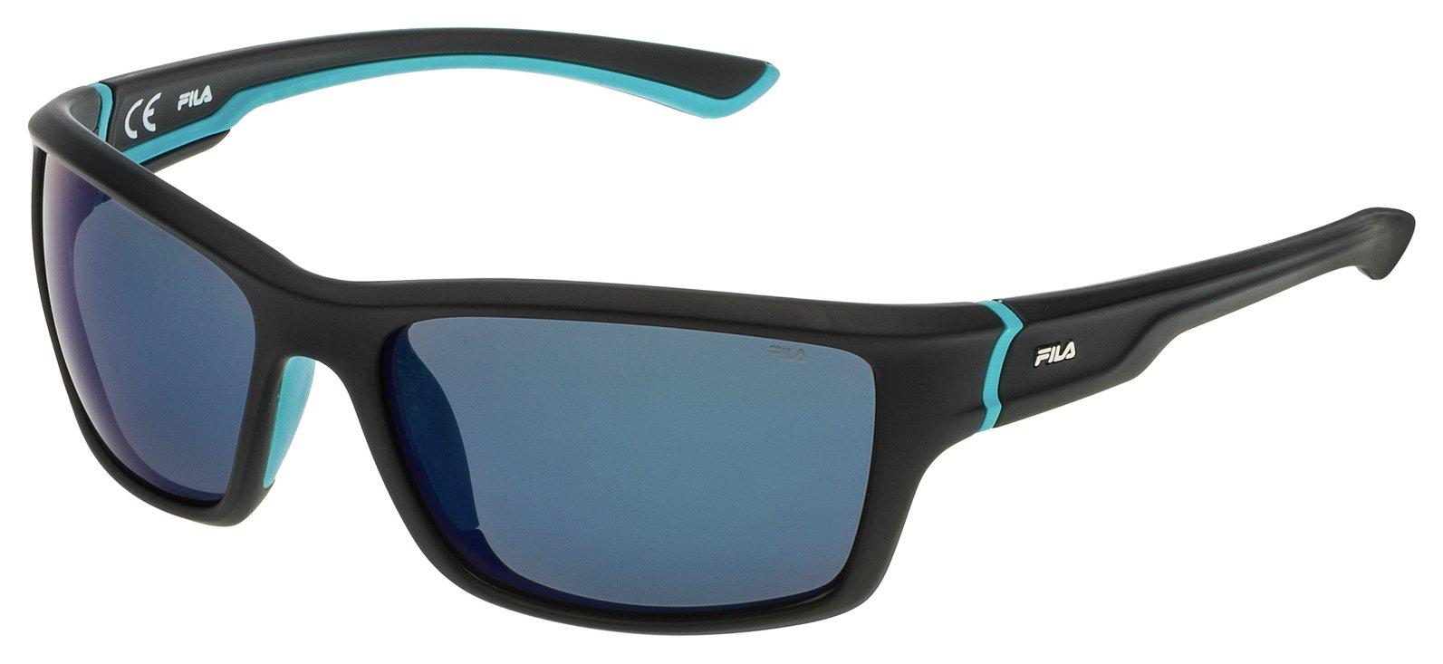 Image of Fila Shiny Black Blue Lens Sunglasses.