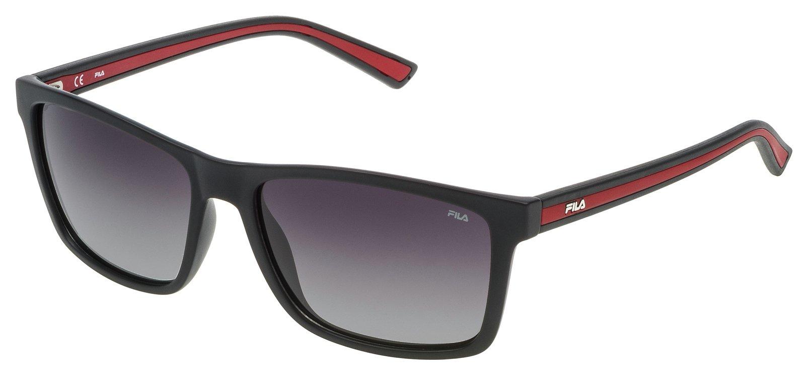 Image of Fila Shiny Black Smoke Lens Sunglasses.