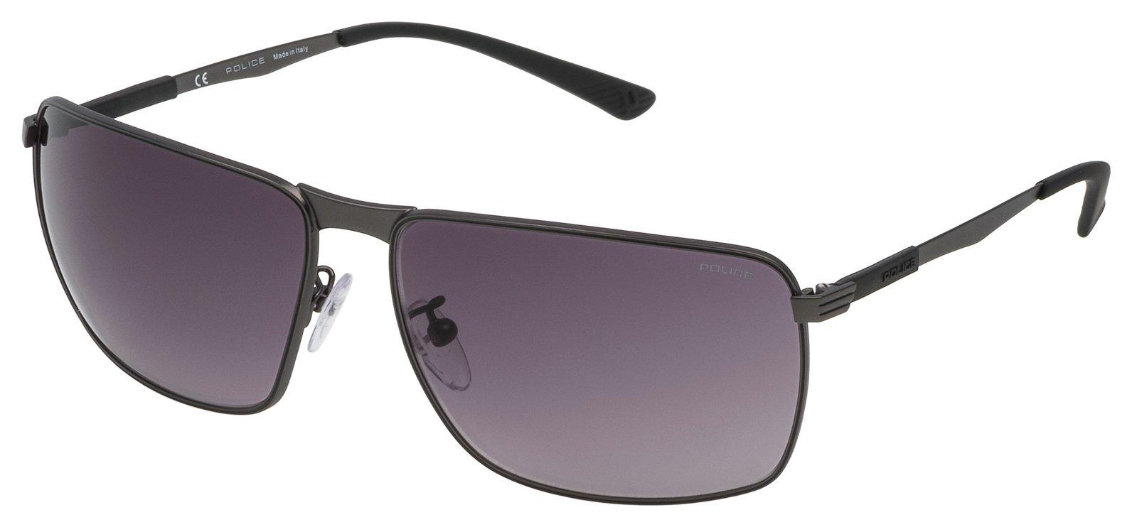 Image of Police Matt Gunmetal Smoke Lens Rectangular Sunglasses
