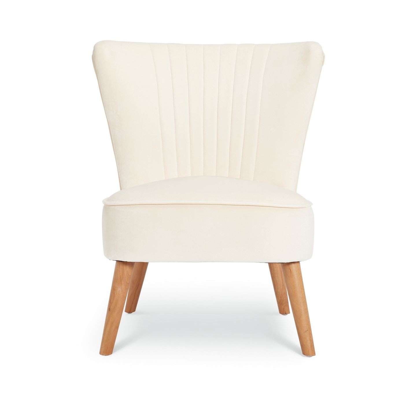 Argos Home Alana Velvet Shell Back Accent Chair - Natural