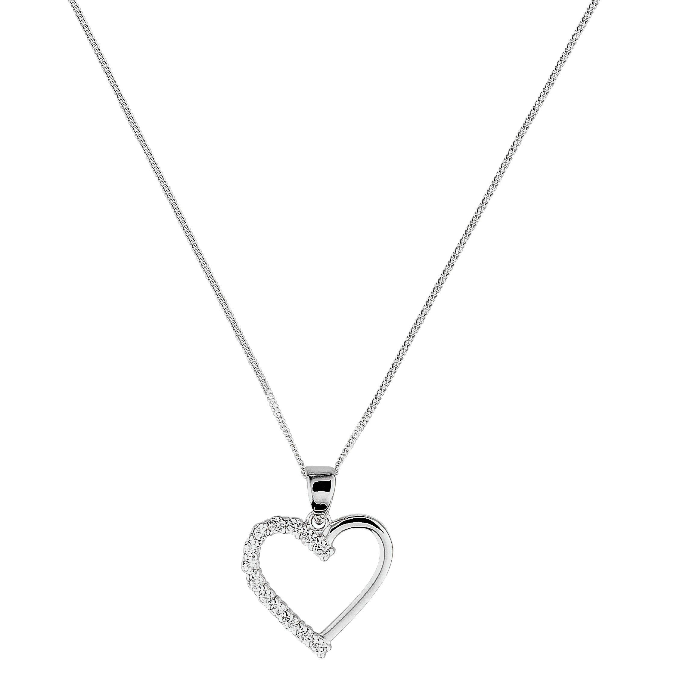 Revere 9ct White Gold Cubic Zirconia Heart Pendant