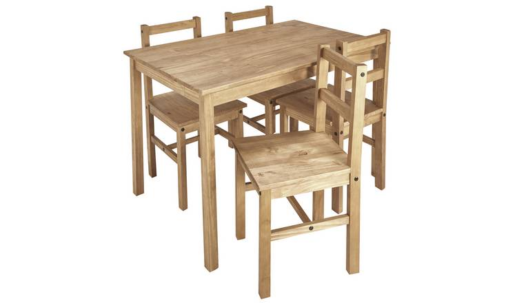 Buy Argos Home Raye Solid Wood Dining Table & 4 Chairs | Dining table and  chair sets | Argos