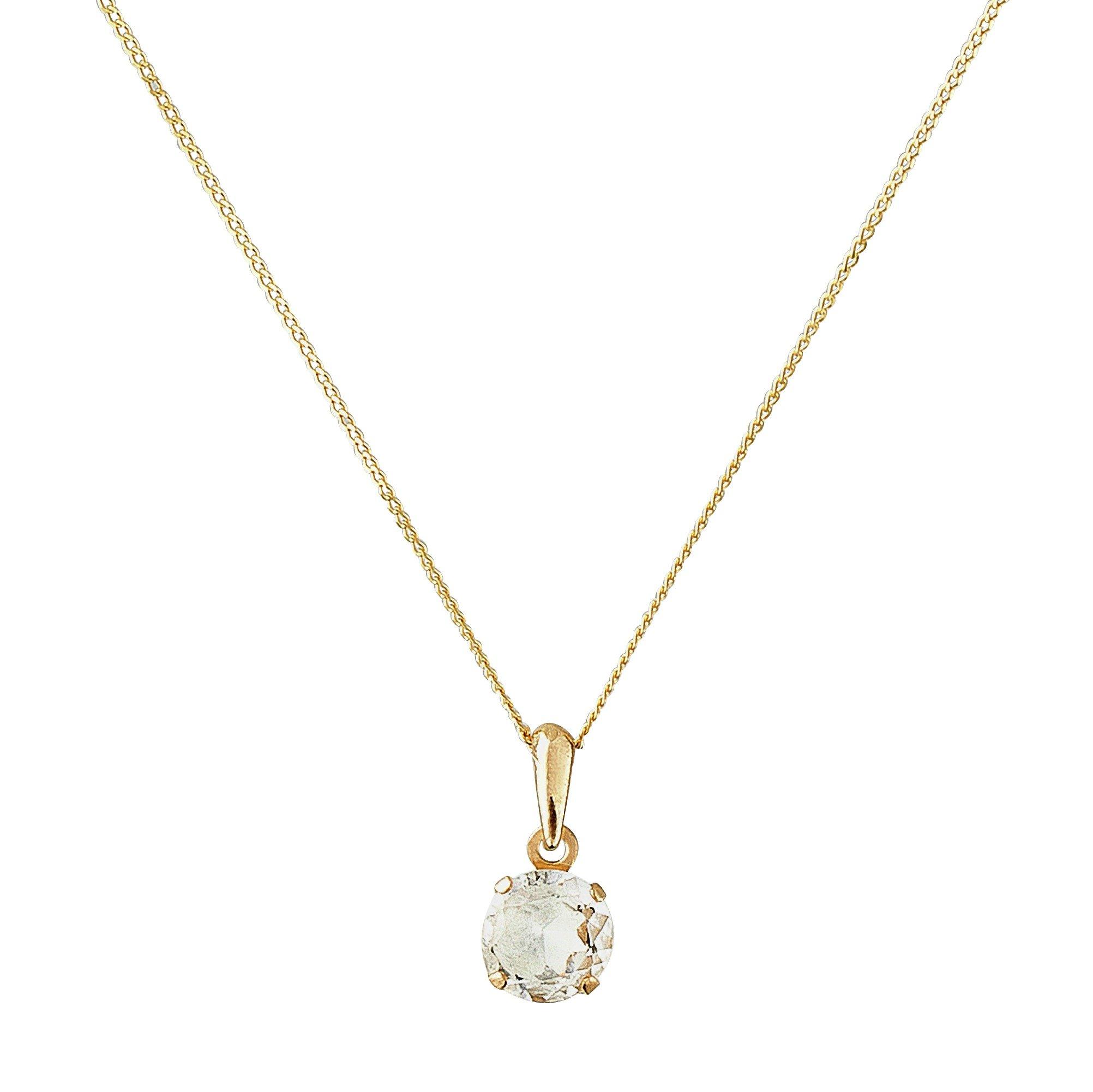 Revere 9ct Gold White Topaz 5mm Pendant 16 Inch Necklace