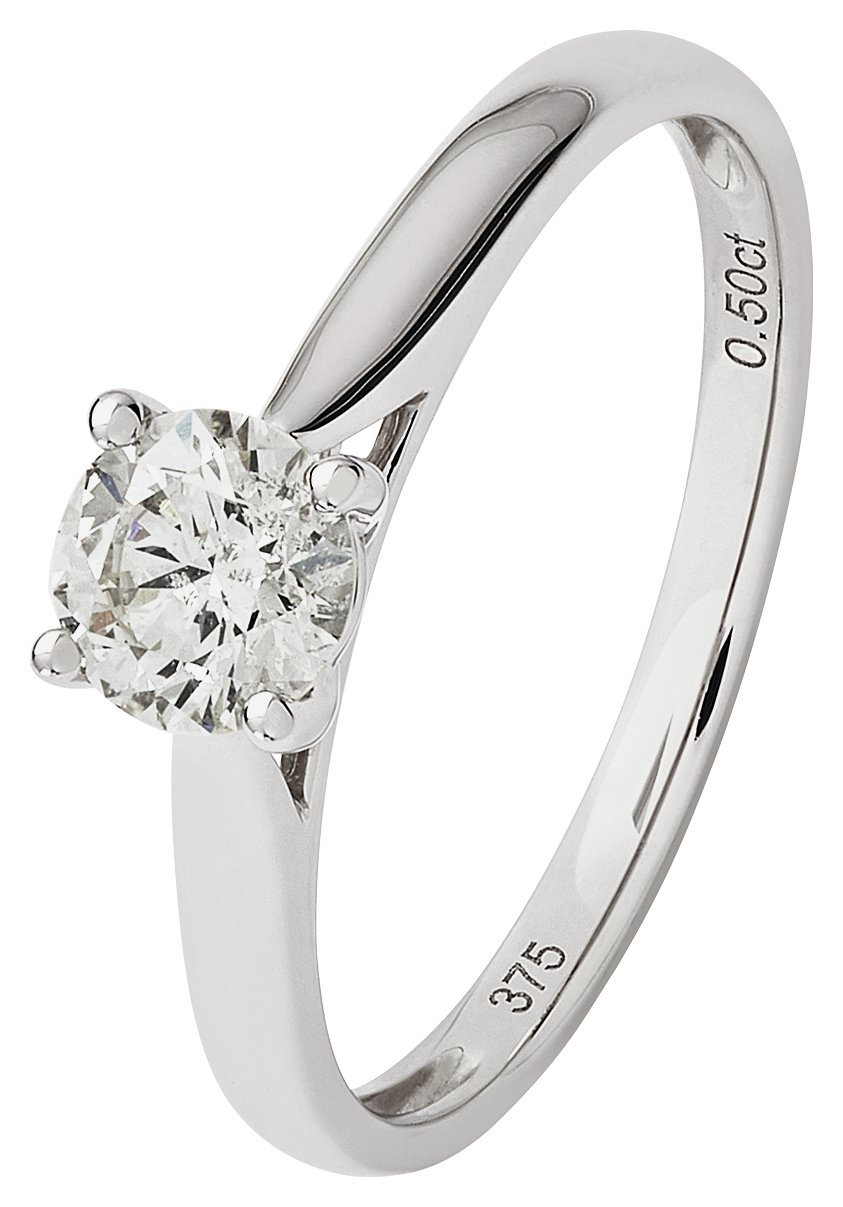 Revere 9ct White Gold 0.50ct  Diamond Solitaire Ring