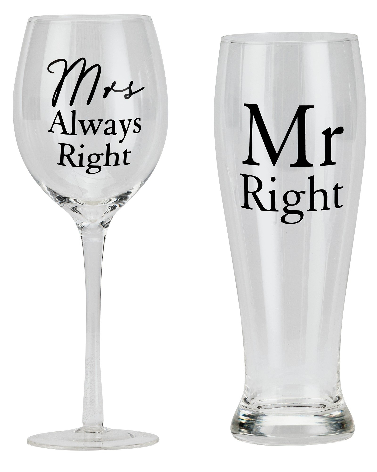 Amore Mr Right & Mrs Always Right Wine & Pint Glass Set review