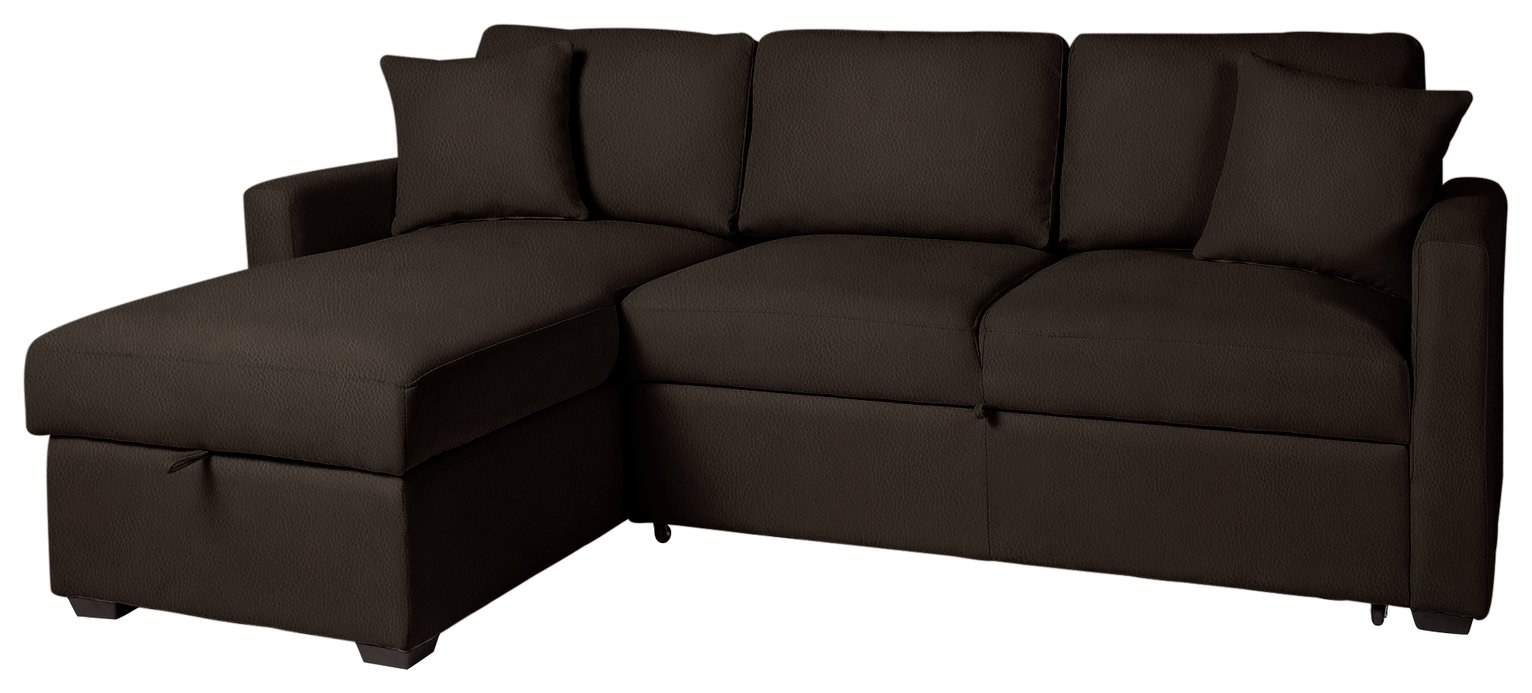 Argos Home Reagan Left Corner Sofa Bed - Dark Brown