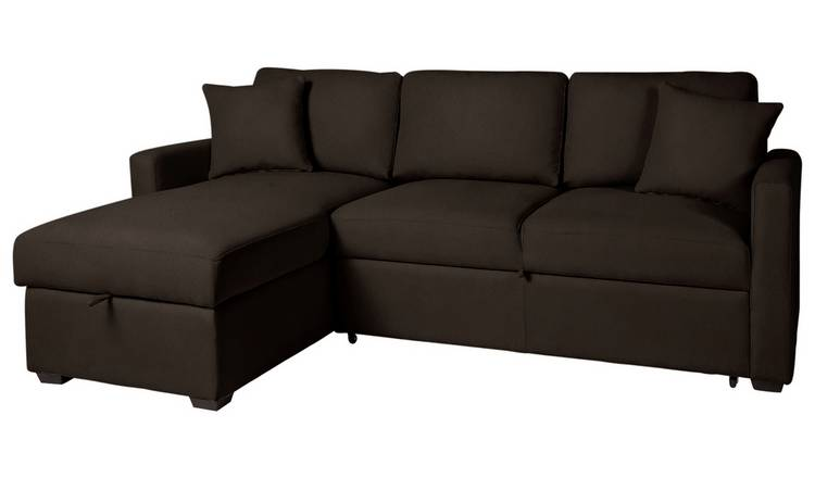 Buy Argos Home Reagan Left Corner Sofa Bed - Dark Brown | Sofa beds | Argos
