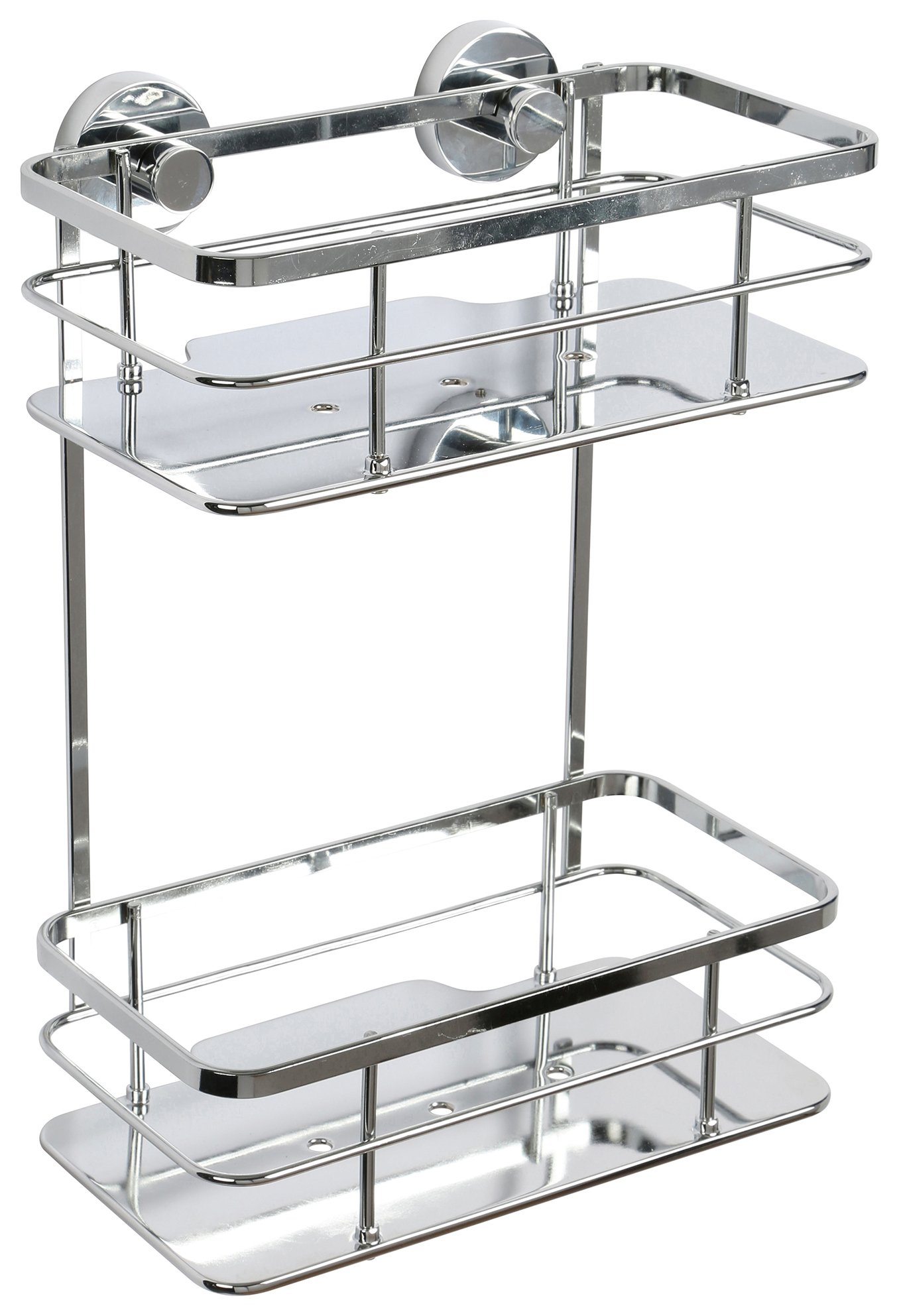 Image of Croydex Charlwood 2 Tier Chrome Flexi Fit Cosmetic Basket