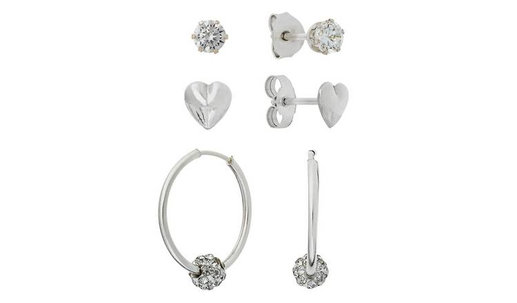 30b1f6e00 Revere Silver Stone Set Set of 3 Hoop and Stud Earrings709/8149