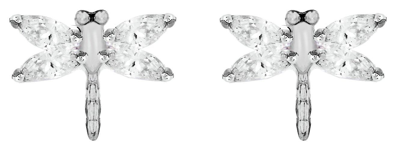 Revere Silver Cubic Zirconia Dragonfly Stud Earrings