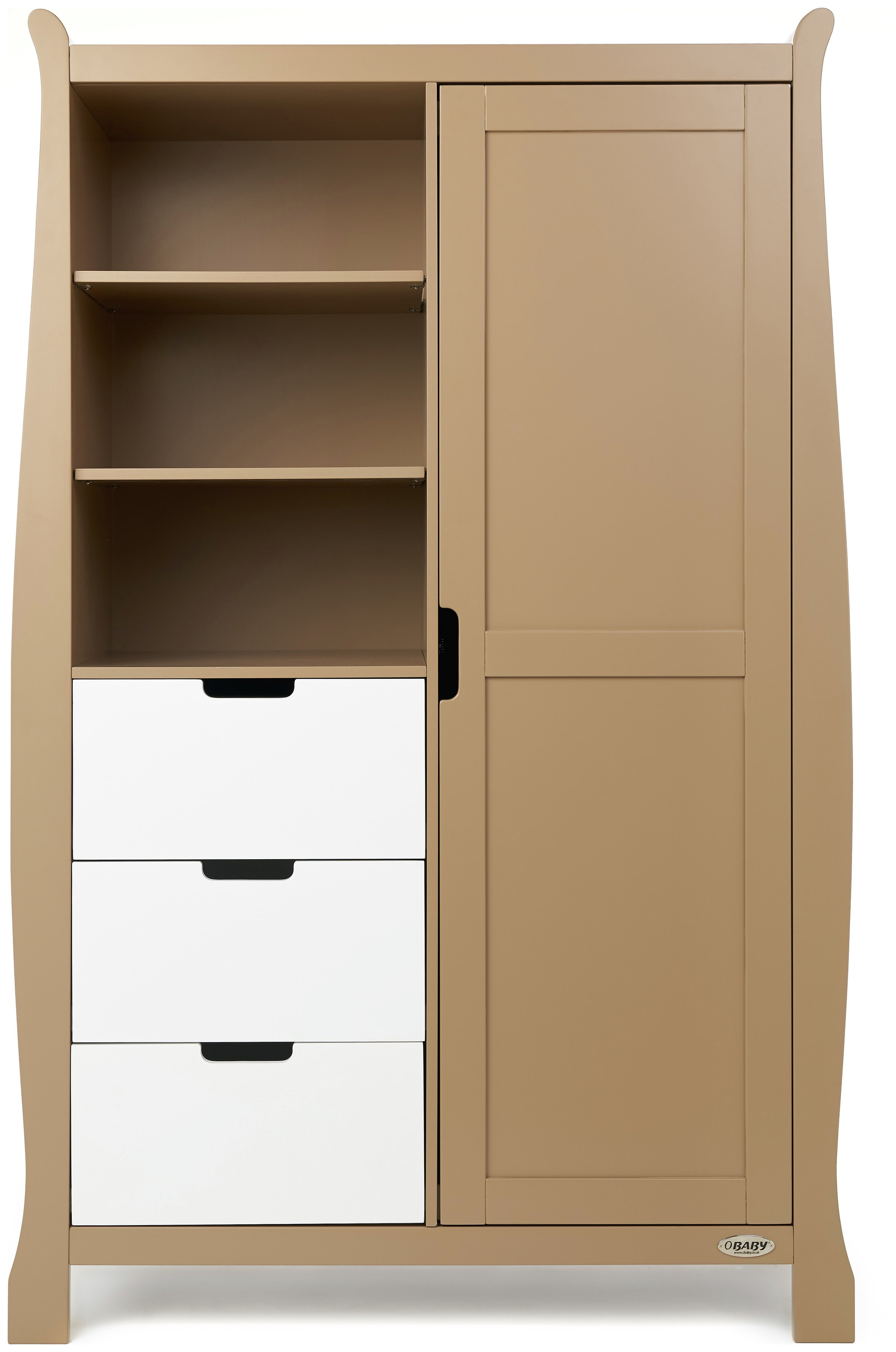 Image of Obaby Stamford Retro Wardrobe - Iced Coffee with White