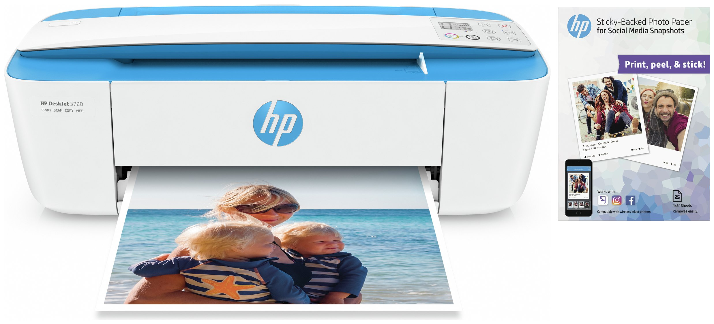 HP Deskjet 3720 Wireless All-in-One Printer Bundle
