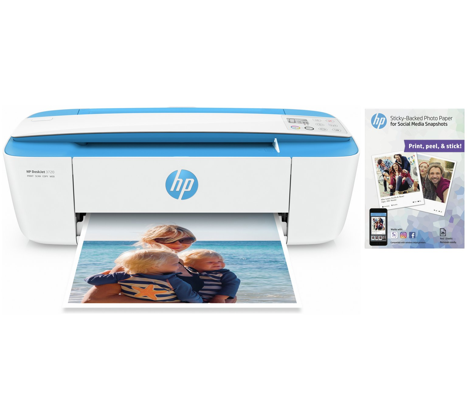 HP Deskjet 3720 Wireless All-in-One Printer Bundle